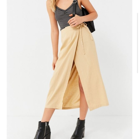 Urban Outfitters Dresses & Skirts - Urban Outfitters Linen Wrap Midi Skirt